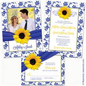 blue and yellow wedding invitation cards sunflower royal blue yellow damask floral ribbon photo wedding