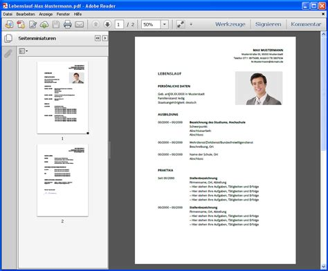 Lebenslauf Muster Pdf Datei Bewerbung Format Images Frompo 1