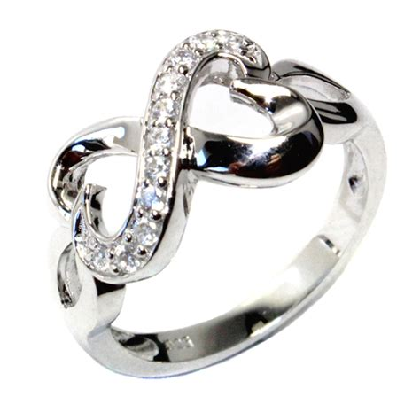 infinity promise ring with 2 joined hearts promise