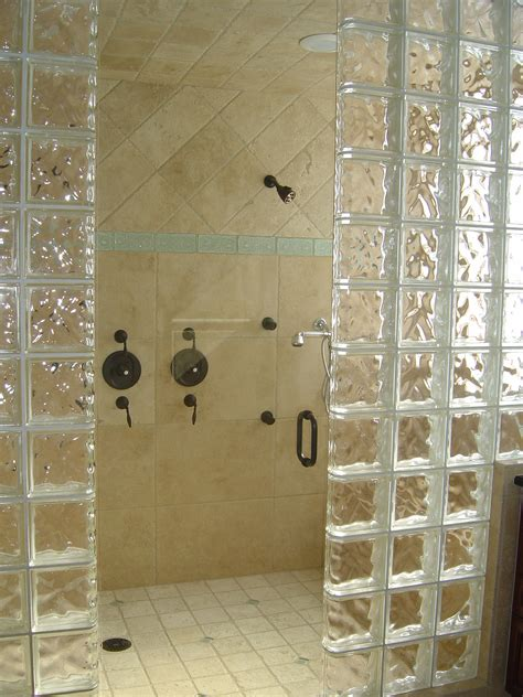 bathroom with glass block walk in shower designs