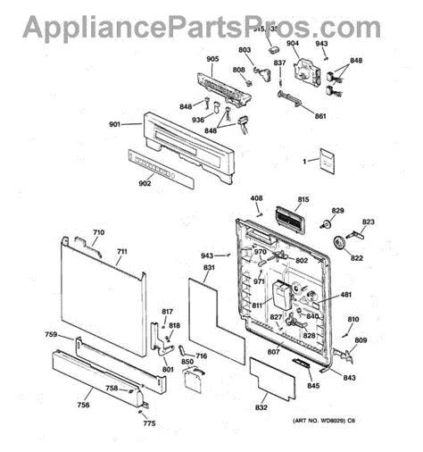 ge dishwasher parts diagram ge wd08x10016 dishwasher door gasket appliancepartspros