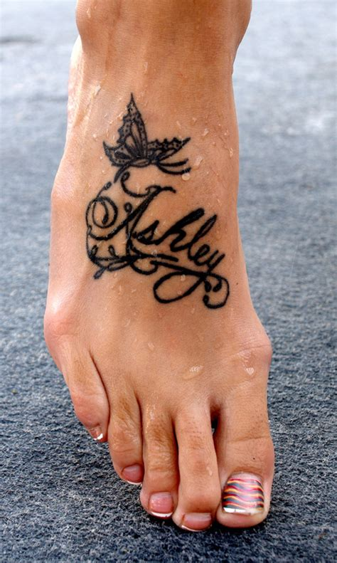 butterfly name tattoo designs word lettering name tattoos design on foot