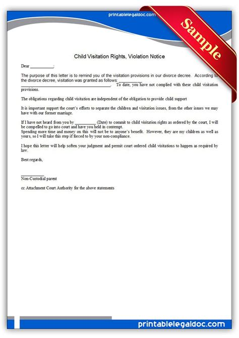 Free Printable Child Visitation Rights Viiolation Notice Sle Printable Legal Forms Child Visitation Letter Template