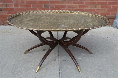 Large Tray For Coffee Table Large Vintage Brass Tray Coffee Table On Mid Century Folding Base At 1stdibs