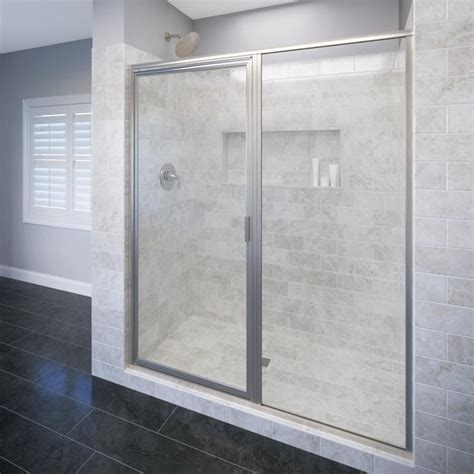 Basco Shower Door Reviews Basco Deluxe 59 In X 68 5 8 In Framed Pivot Shower Door In Brushed Nickel With Clear Glass