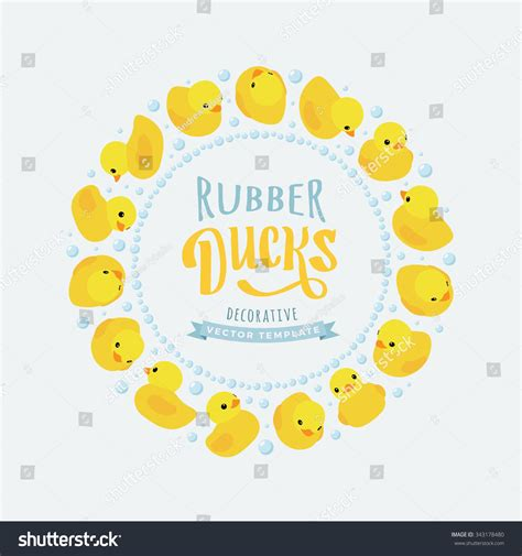 boston ducks card template vector decorating design made yellow rubber stock vector