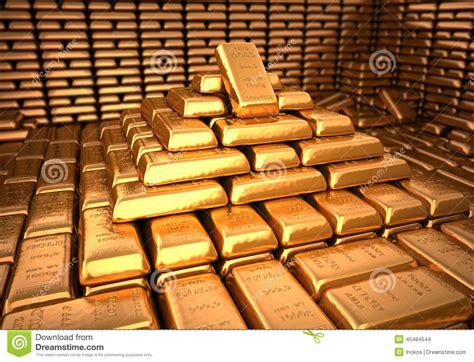 gold bank bank vault filled with gold bullion finance illustration