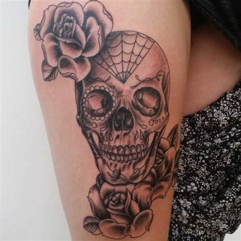 skull and rose tattoo on thigh 31 supreme skull tattoos gun