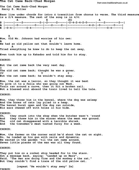 cat song lyrics the cat came back chords cats