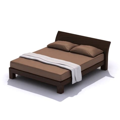 modern queen size bed frame 3d model cgtrader com