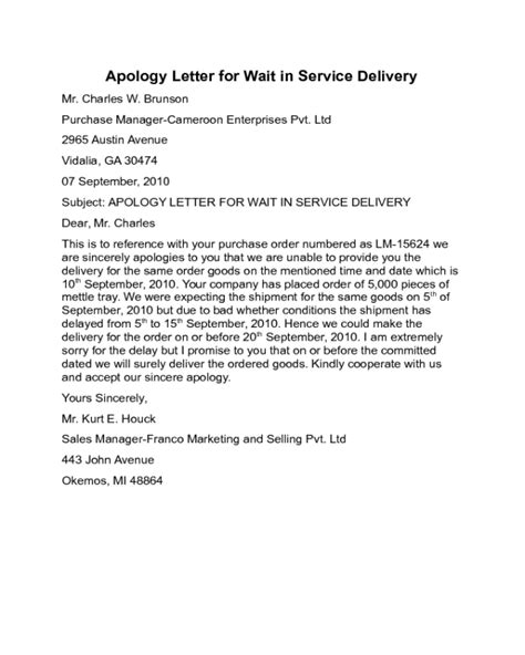 Apology Letter Sign apology letter for wait in service delivery sle edit