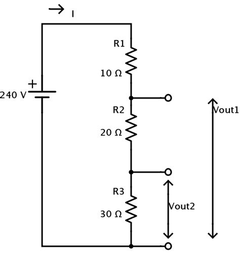 voltage of resistors in series voltage divider circuit potential difference in resistor networks