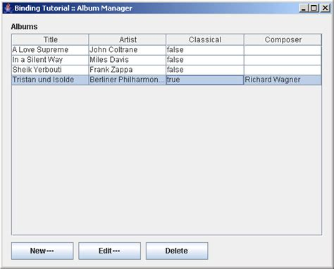using java swing builds a user interface for managing albums using a table