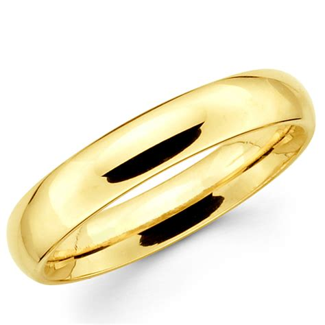 10k Gold Wedding Band 10k solid yellow gold 4mm plain s and s wedding