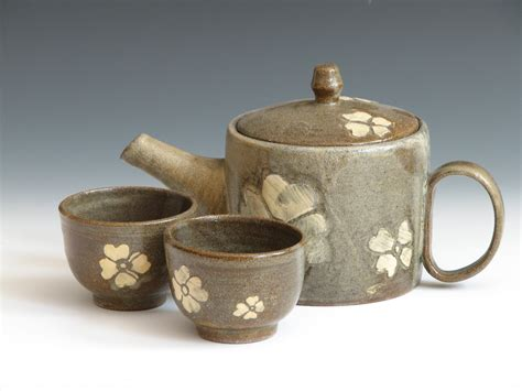 Handmade Tea - ceramic teapot set handmade pottery teacups four petals