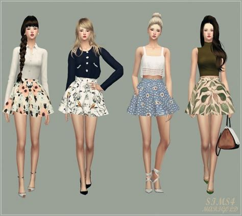 Lenny Flowery Flare Mini Skirt flare skirt v3 flower at marigold 187 sims 4 updates