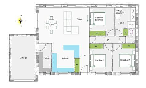 plan de maison de plain pied avec 3 chambres