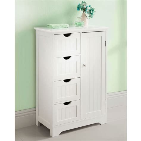 White Wooden Free Standing 4 Drawer 1 Door Bathroom Counter Bathroom Storage