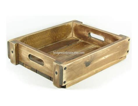 Wooden Serving Trays For Ottomans Wood Crate Ottoman Serving Tray Rustic Wedding Program Holder Custom