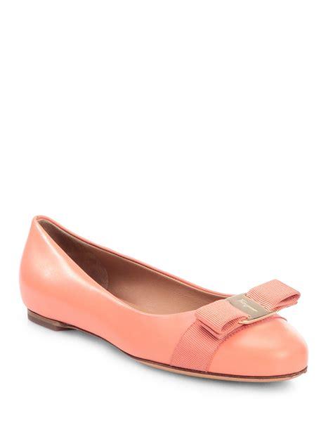 ferragamo shoes flats ferragamo varina leather ballet flats in pink coral pink
