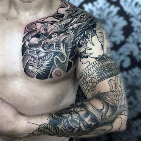 chest tattoo asian massive colored bi asian dragon tattoo on chest with