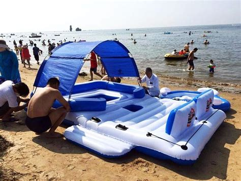 pool floating island thickened swimming sofa seats bed air mattress water