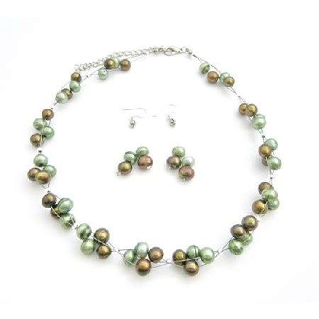 Handmade Bronze Jewelry - handmade interwooven bronze green freshwater pearls