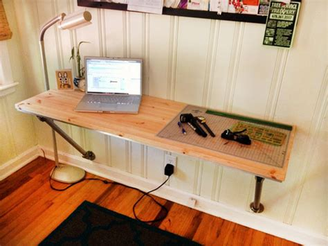 Diy Table Desk by Wall Mounted Desk On Pipe Desk Fold Up Desk