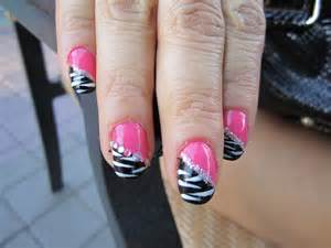 blanca1018 pink and black zebra nail design blue