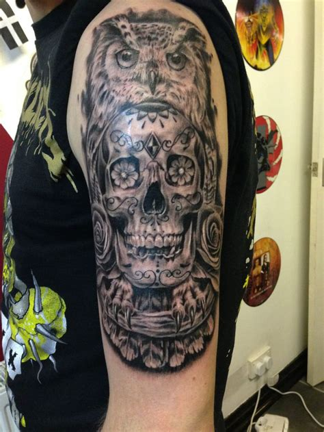 my owl and skull tattoo by talisman tattoo studio york