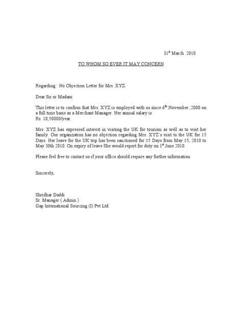 Visa Noc Letter From Employer Sle No Objection Letter Certificate Noc 1