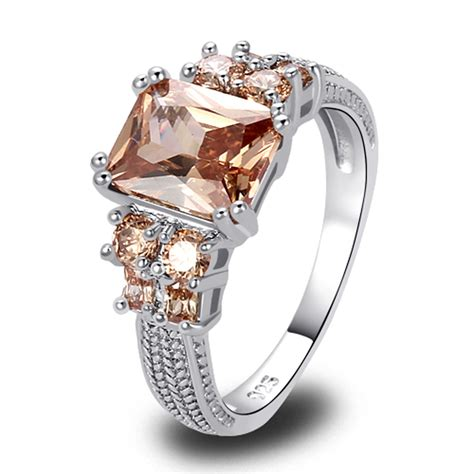 wholesale saucy exalted emerald cut morganite silver ring