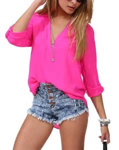 Get s mss women s spicy girl solid v neck loose chiffon shirt blouse