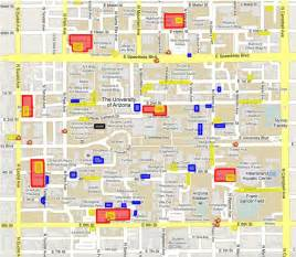 u of arizona cus map map and transportation the of arizona s