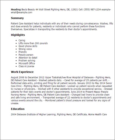 Patient Care Assistant Sle Resume by Professional Patient Care Assistant Templates To Showcase Your Talent Myperfectresume