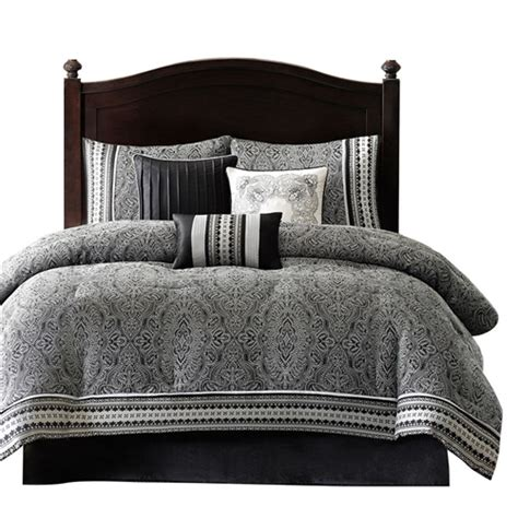 gray pattern comforter king size 7 piece comforter set with damask pattern in