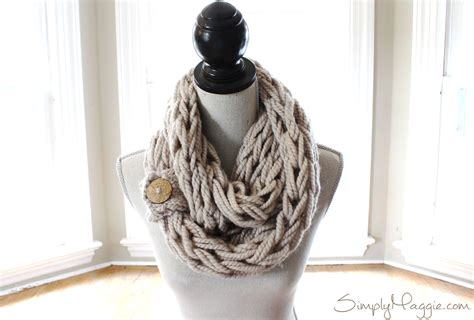 diy arm knitting infinity scarf diy button cuff for infinity scarf simplymaggie