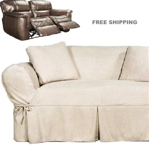 dual reclining loveseat slipcover heavy suede ivory sure