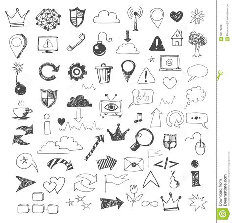 design icon in sketch sketch of web design icons hand drawn with pen stock
