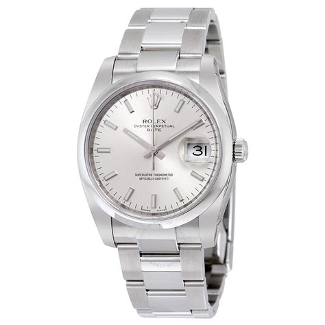 Rolex Oyster Silver rolex oyster perpetual date 34 silver stainless steel