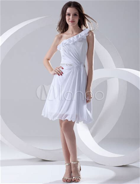 casual a line one shoulder knee length white chiffon party dress cokm14005 white knee length cut out chiffon graduation dress with