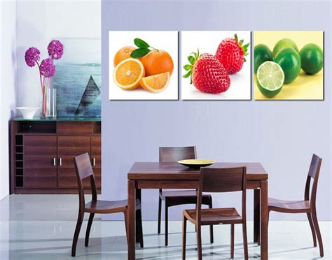 free shipping 3 canvas modern wall decor dining room decoration fruit canvas painting