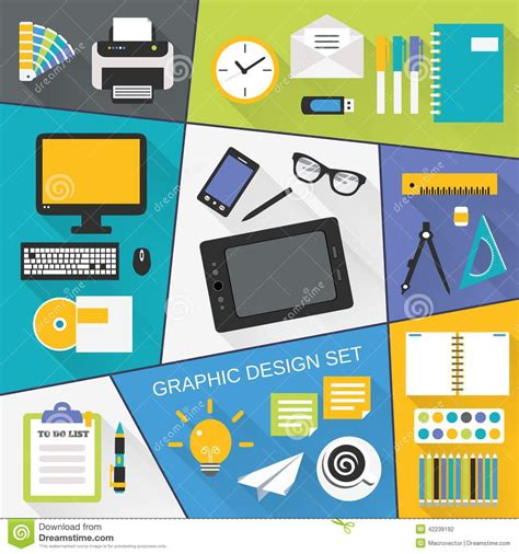 best tools for designer developer marketer graphic design flat set stock vector image 42239192
