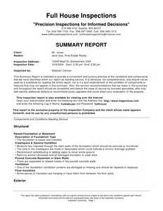 Inspection Report Writing Format by House Inspections Sle Report