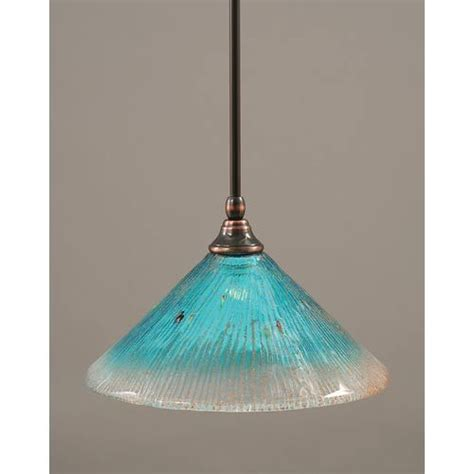 Teal Glass Pendant Light Black Copper One Light Mini Pendant With Teal Glass Toltec Li