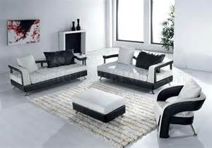 Modern Living Room Leather Chairs Black And White Leather Ultra Modern 4pc Living Room Set
