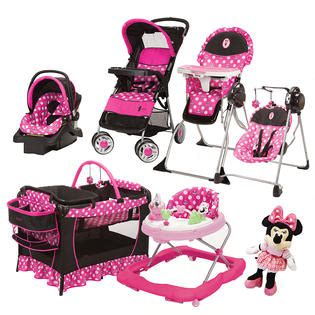 car seat stroller pack and play bundle 8 pc set bundle minnie mouse high chair swing doll car