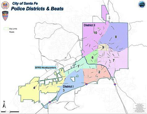 gis city of santa fe sfpd patrol area map city of santa fe new mexico