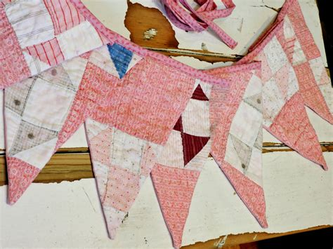 Patchwork Bunting - pink patchwork bunting vintage cottage chic feedsack quilt