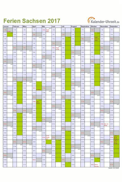 Kalender 201 Mit Feiertagen Ferien Sachsen 2017 Ferienkalender Zum Ausdrucken